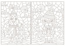 Contour set with  illustrations of stained glass Windows on the theme of winter holidays, funny cartoon dogs on the background of