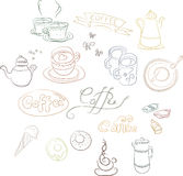 A set of contour images of coffee dishes. Cakes, pastries. Concept for coffee, Coffee shop, price lists and registration cards, a series of notebooks, booklets Stock Photography