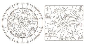 Contour set with  images of flying pigs in the sky, round and square image Royalty Free Stock Photos