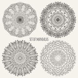 Set of contour mandalas Stock Photo