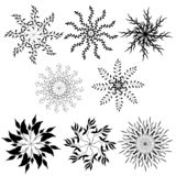 Set of contour patterns. Black and white drawing, sketch drawn in ink. Outline of vector ornaments, circles of wreaths for design vector illustration