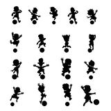 Set of contour soccer players kicking the ball royalty free illustration