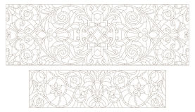 Set contour Stained glass illustrations  with abstract swirls and flowers , horizontal orientation. Set contour illustrations of stained glass with abstract Royalty Free Stock Photos
