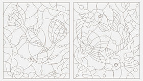 Set contour stained glass illustrations of aquarium fish Royalty Free Stock Images