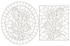 Contour set with  stained glass illustrations with bouquets of flowers tulips, dark outlines on white background. Set of contour stained glass illustrations with stock illustration