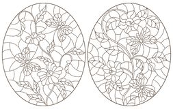 Contour set with  illustrations with  flowers and  butterflies, dark contours on white background, oval images. Set of contour stained glass illustrations with stock illustration