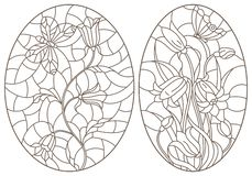 Contour set with stained glass illustrations with  flowers and  butterflies, dark contours on white background, oval images. Set of contour stained glass stock illustration