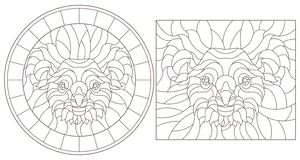 Contour set with stained glass illustrations with koala bear head, round and square image, dark outline on white background. Set of contour stained glass vector illustration