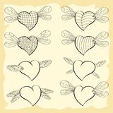 Set of contoured valentine hearts with wings of insects. Vector Graphics for Valentine`s day Royalty Free Stock Image