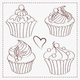 The set of contours of delicious Christmas  cupcakes. The set of contours of delicious Christmas hand drawn cupcakes Stock Images