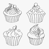 The set of contours of delicious Christmas  cupcakes Stock Photography