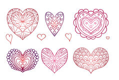 Set of contours of the doodle hearts decorated boho patterns Stock Image