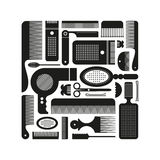 Set of Contours Hairdressing Supplies: combs, scissors, hair dryer etc. Royalty Free Stock Photos