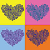 Set of contrast hearts Stock Images