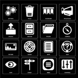 Set of Controls, Menu, View, Note, Picture, Folder, Upload, Book. Set Of 16 icons such as Controls, Menu, Street, View, Help, Settings, Upload, Picture, Folder Royalty Free Illustration