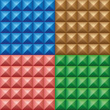 Set of convex pyramids. Set of four colorful abstract patterns. Seamless texture Royalty Free Stock Photos