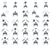 Set of coocing on brazier icons. Vector illustration Royalty Free Stock Photos