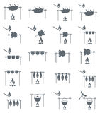 Set of coocing on campfire icons. Vector illustration Royalty Free Stock Photo