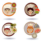 Set of cook avatars or icons for web, menu design,  person vector illustration. Flat colored outlined style. Royalty Free Stock Images