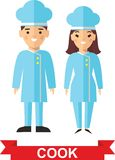 Set of cook and cook woman. Vector illustration of a kitchener and cook woman Royalty Free Stock Photography