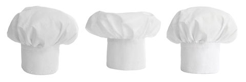 Set of cook hat or cap isolated. On white Royalty Free Stock Photo