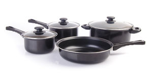 Set of cook pan on white background Stock Image