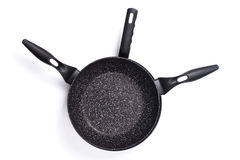 Set of cook pan on white background,Top view of new empty frying Stock Photo