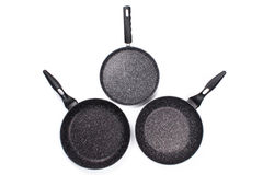 Set of cook pan on white background,Top view of new empty frying Stock Images
