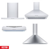 Set of cooker hoods. Set of different Kitchen range hoods. Front view. Domestic equipment. Editable Vector illustration Isolated on white background Royalty Free Stock Photo
