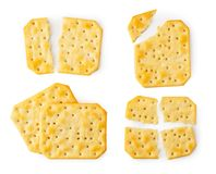 Set of cookie crackers broken and whole on a white background. The form of the top. A set of cookie crackers broken and whole on a white background. The form of royalty free stock images