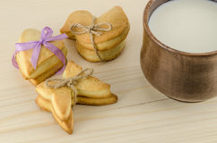 Set of cookies and cap of milk Royalty Free Stock Image