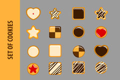 Set of cookies in flat style. Stock Image