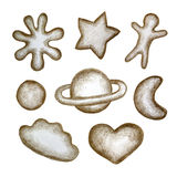 Set of cookies made pencil. Royalty Free Stock Image
