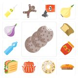 Set of Cookies, Pie, Doughnut, Pot, Taco, Jam, Water, Bread, Oni. Set Of 13 simple editable icons such as Cookies, Pie, Doughnut, Pot, Taco, Jam, Water, Bread Vector Illustration