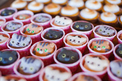 Set of cookies in the shape of cat. Cat lover cookies. Set of different christmas cookies in the shape of a cat Stock Photo