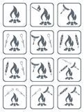 Set of cooking on campfire icons Royalty Free Stock Photo