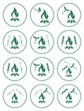 Set of cooking on campfire icons Stock Photography