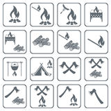 Set of cooking on campfire icons. Vector illustration vector illustration
