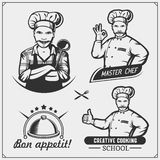 Set of cooking classes with chef cook emblems, labels and design elements. royalty free stock photo