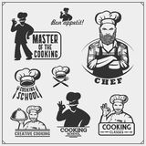 Set of cooking classes with chef cook emblems, labels and design elements. stock images