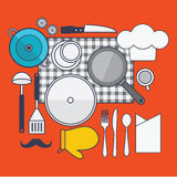 Set of  cooking concept design flat line. Illustration Stock Photography