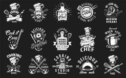 Set of cooking emblem. On black background. Vector illustration royalty free illustration