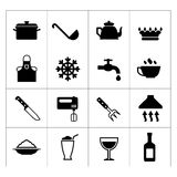 Set of cooking and kitchen icons. Isolated on white Stock Photo