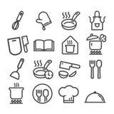 Set of cooking minimal icons set isolated. Modern outline on white background royalty free illustration