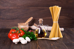 Set for cooking pasta. Rustic Royalty Free Stock Images