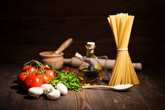 Set for cooking pasta. Rustic. Sunlight Stock Photography