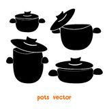 Set of cooking pots. Of different sizes royalty free illustration