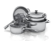 Set of cooking pots. Stock Photography