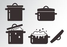 Set of cooking pots. Vector illustration. Set of cooking pots, black and white design. Vector illustration stock illustration
