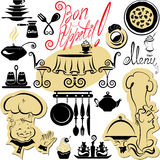 Set of cooking symbols, hand drawn pictures - food Royalty Free Stock Photography